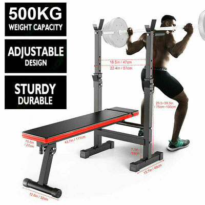 £59.99 • Buy Heavy Duty Adjustable Folding Sit Up Weight Bench Barbell Dip Station Lifting UK