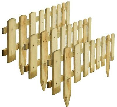 £42.99 • Buy 3pcs Large Garden Wooden Picket Border Fence Outdoor Lawn Fixing Spike Panels