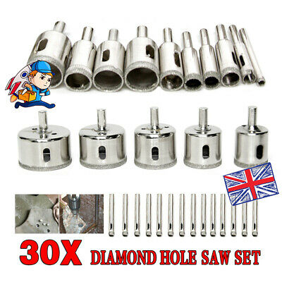 £16.98 • Buy 30x Diamond Cutter Coated Core Hole Saw Set Holes Saw Drill Bit Tile For Glass