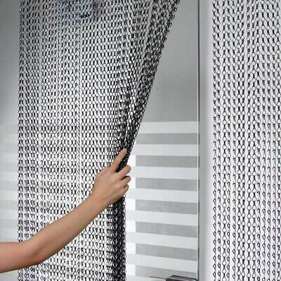 214x90CM Aluminum Door Curtain Metal Chain Screen Fly Insect Mosquito Blinds NEW • 33.98£