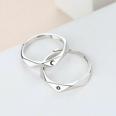 £4.33 • Buy 2Pcs Sun And Moon Lover Couple Rings Set Promise Wedding Bands For Him And Her
