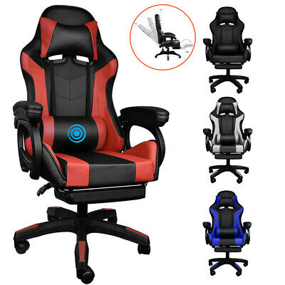 AU108.99 • Buy Ergonomic Gaming Chair Racing Video Computer Vibration Seat Footrest Adjustable