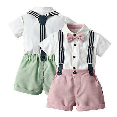 £11.99 • Buy Toddler Baby Boys Gentleman Bow Tie Solid T-Shirt Tops+Suspender Shorts Outfits