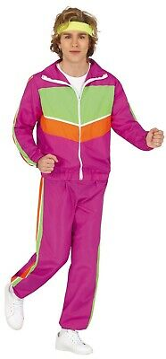 AU42.81 • Buy Mens Pink 80s Tracksuit Get Fit Workout Shell Suit Stag Do Fancy Dress Costume