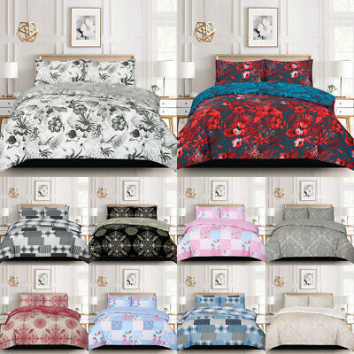 £13.25 • Buy Printed Duvet Cover Quilt Bedding Set With Pillow Cases Single Double King Size