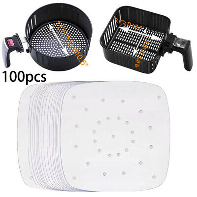 100x 8.5Inch Non Stick Perforated Pper 8.5 Inch Square Air Fryer Parchment Liner • 11.62£