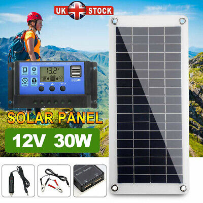 £18.88 • Buy  Dual USB Flexible Solar Panel 12V 30W Battery Charger Kit Boat Camp + Controlle