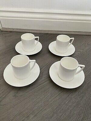£39.99 • Buy Wedgwood Jasper Conran White Espresso Cups And Saucers X 4