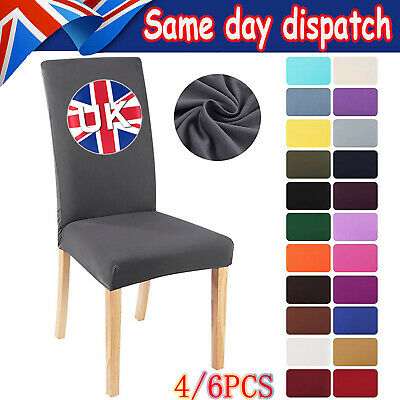 £9.68 • Buy 4/6Pcs Dining Chair Slip Covers Stretch Wedding Banquet Party Removable Decor UK