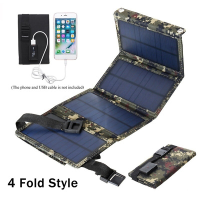 £15.99 • Buy 5V Solar Panel 4 Folding Portable Power Charger USB Camping Travel For Phone UK