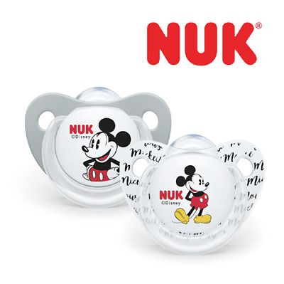 £7.95 • Buy NUK Disney Micky Mouse Silicone Soothers Baby 6-18 Month Dummies Pack Of 2 Grey