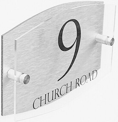 £5.99 • Buy Stylish Dual Layer House Sign Wall Gate Door Number Street Name Plaque Acrylic