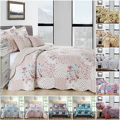 £29.99 • Buy Quilted Patchwork Bedspread 3 Piece Vintage Floral Bedding Set Double King Size