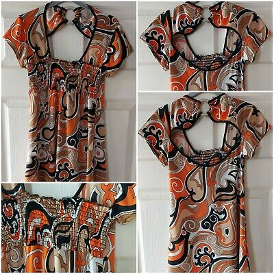 £7.96 • Buy *BNWT* BODY COVER Vintage Ladies Patterned Top Cut-out Detail UK Size M/L VGC