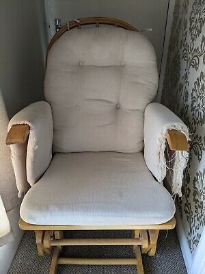 Glider Nursing Chair /maternity/rocking Chair/ Neutral Beige Upcycle Reupholster • 5£