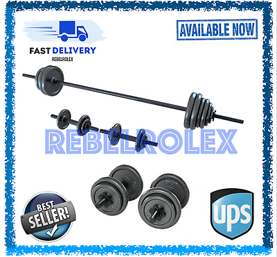 AU360.43 • Buy ⭐️🇬🇧 Opti Cast Iron Bar And Dumbbell Set - 48.8kg - Brand New & Boxed 🇨🇮🌎