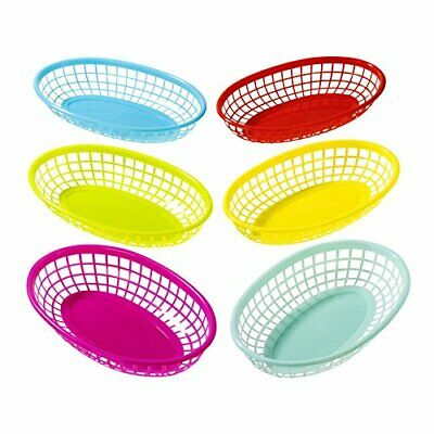 £6.99 • Buy 6 Pack Reusable Plastic Colourful Food Baskets For Hotdogs,