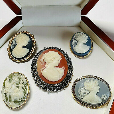 Vintage Jewellery Mixed Lot Celluloid Cameo Brooches/pins • 25£