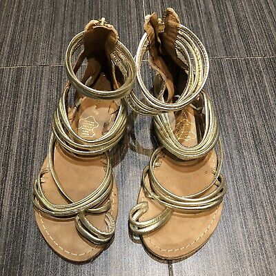 Ladies Sandals - Gold Leather , Size 4 • 3.80£