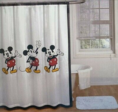£28.32 • Buy Disney Mickey Mouse White Shower Curtain 100% Cotton, 72  X 72 , NEW