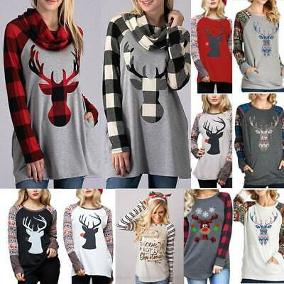 £6.26 • Buy Women Christmas Print Long Sleeve T-Shirt Ladies Loose Tunic Party Casual Tops