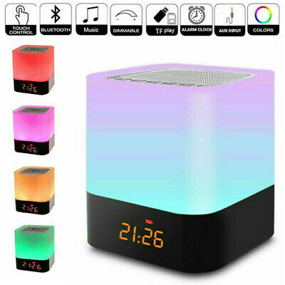 AU32.28 • Buy Bluetooth Speaker Alarm Clock Touch LED Bedside Night Lamp MP3 Player Dimmable