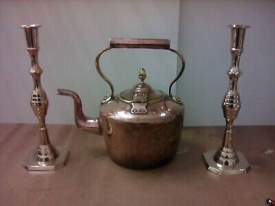 £5.69 • Buy Antique Copper Kettle & Two Brass Candle Sticks