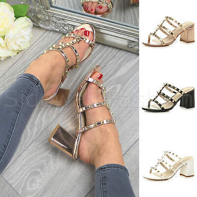 £13.99 • Buy Womens Ladies High Block Heel Caged Studded Slip On Strappy Sandals Mules Size