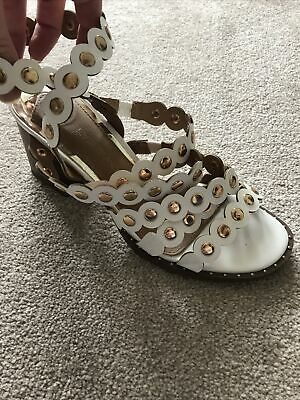 Ladies White & Gold River Island Gladiator Style Sandals Size 7 • 10£