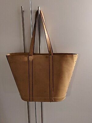 Unbranded Leather Camel Beige Tan Large Tote Bag With Red Canvas Accent • 9£