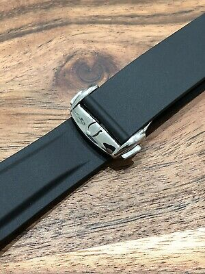 Omega Watch Planet Ocean Strap Rubber 20mm Black Mens Deployment Buckle Band • 46.99£