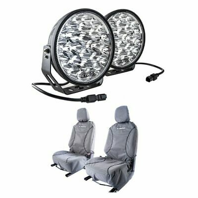 """AU208 • Buy Kings Domin8r Xtreme 9""""LED Driving Lights Pair + Premium Canvas Seat Covers Pair"""