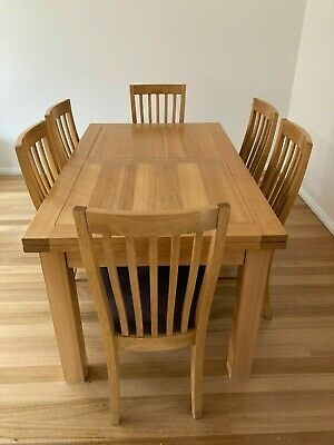 AU300 • Buy Dining Table, Solid Timber, Extendable, With 6 Chairs. Sturdy Metal Extension Me