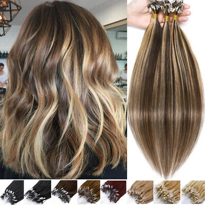 Loop Micro Ring Beads Link Russian Remy Human Hair Extension Full Head Highlight • 27.49£