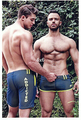 $ CDN9.67 • Buy Shirtless Smooth & Hairy Chest Gay Male Couple N Athletic Shorts Beefcake Photo