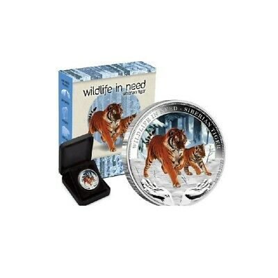 AU45 • Buy 2012 PM $1 1oz Colour Wildlife In Need -Siberian Tiger Silver Proof Coin D5-1209