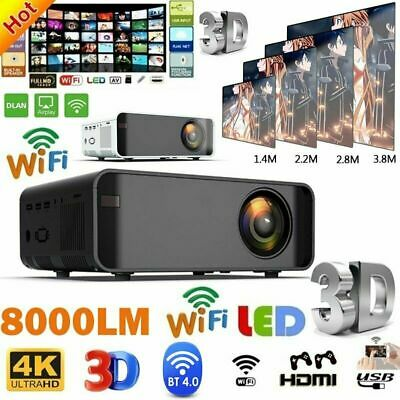 Smart LED Home Theater Projector Android 6.0 Wifi BT 1080P FHD 3D Video Movie UK • 75.99£