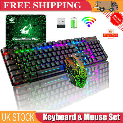 Wireless Gaming Keyboard Mouse Set LED Backlit 4000mAh For Computer PS4 Xbox One • 28.89£