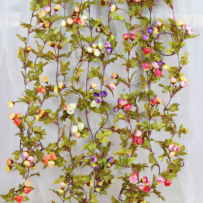 £4.98 • Buy 42 Flowers 7Ft Artificial Fake Silk Rose Flower Hanging Garland Party Home Decor