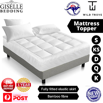 AU72.99 • Buy Pillow Top Mattress Topper 1000GSM Bamboo Protector Fully Fitted Skirt Cover