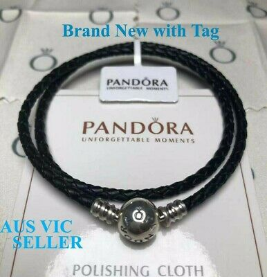 AU39.99 • Buy New With Tag Genuine Pandora Moments Black Leather 925 Silver Charm Bracelet