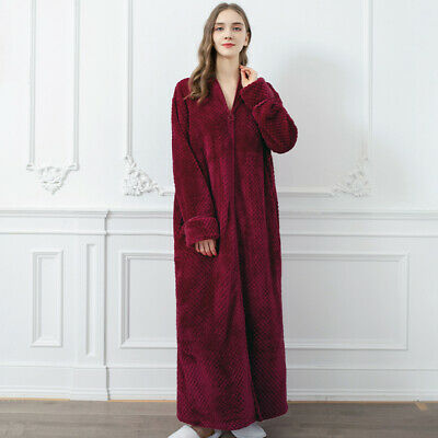 AU47.78 • Buy Ladies Long Dressing Gown/Bath Robe Cover Up Housecoat Soft Feel Cozy Zip Up New