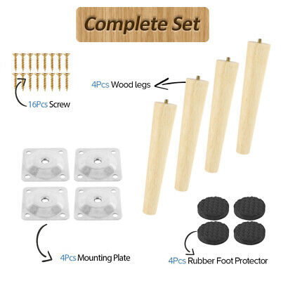 4X Wooden Furniture Legs Feet Replacement Sofa Stool Couch Cabinet & Foot Pads • 9.89£