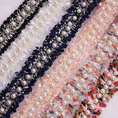 £3.76 • Buy UK Lace Trim Embroidered Fabric Ribbon Pearl Beaded Sewing Supplies DIY Craft **