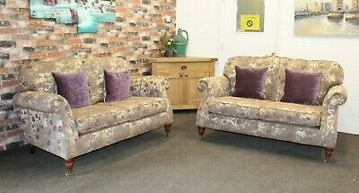 £1499 • Buy Parker Knoll Westbury Pair Of 2 Seater Sofas In Gold & Purple Floral Fabric