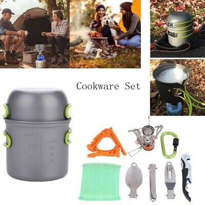 £23.65 • Buy Portable Camping Cookware Kit Outdoor Picnic Cooking Bowl Pot Pan Equipment