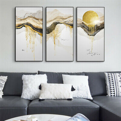£4.59 • Buy Abstract Golden Mountain Sunrise Landscape Canvas Painting Wall Art Poster Print