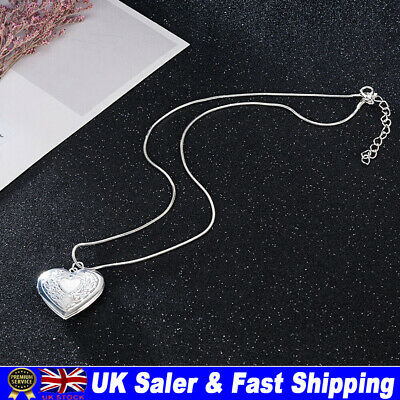 £4.03 • Buy New 925 Silver Open Picture Locket Patterned Heart Shaped Photo Pendant Necklace