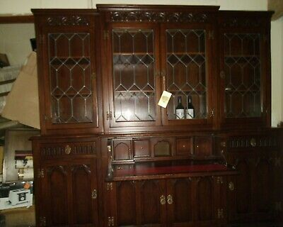 £50 • Buy Old Charm Wood Brothers Oak Breakfront Bookcase With Drop Down Desk 6'7  Wide