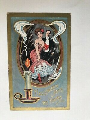 $ CDN10.28 • Buy Halloween Joys Be Yours 1908 Victorian Dress Couple Embossed Vintage Postcard